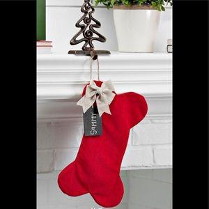 RED VELVET DOG BONE CHRISTMAS STOCKING with BOW